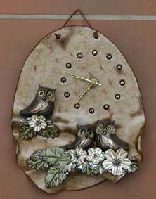 A clock for the kitchen, clay